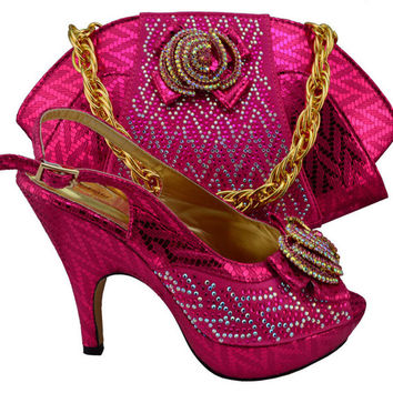 shoe and bag set with rhinestones