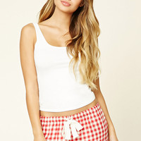 Plaid Lace-Trim PJ Shorts