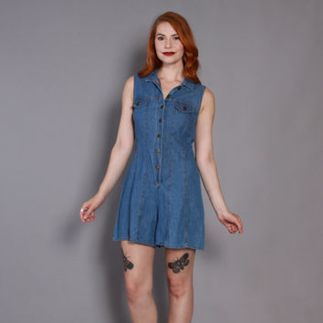 90s DENIM Blue Jean ROMPER / 1990s Loose Fit Cotton Shorts Jumpsuit
