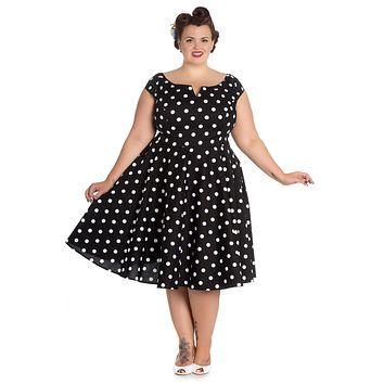 Hell Bunny Plus 50's Retro Mod Black White Polka Dot Flare Party Dress