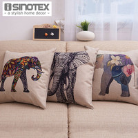 1PCS/Lot Elephant Printed Linen Cushion Cover For Sofa Throw Pillow Case Chair Seat  Pillow Cases