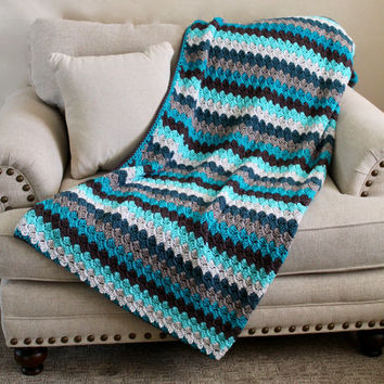 Afghan - Full Size Crochet Blanket - Double Stitch Throw in Grays and Teal Tones - Striped Afghan