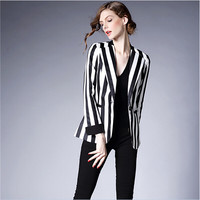 Stripe Print Lapel Collar Long-Sleeve Blazer