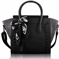 "Black Embossed Skull Black Scarf Twin Handle Tote Designer Handbag (12"" x 13"") with PreciousBags Dust Bag"