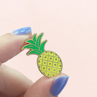 Pineapple Enamel Pin, Flair – Lapel, Hard Enamel – Yellow, Green, & Gold