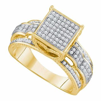 10kt Yellow Gold Women's Round Diamond Elevated Square Cluster Bridal Wedding Engagement Ring 3-8 Cttw - FREE Shipping (USA/CAN)