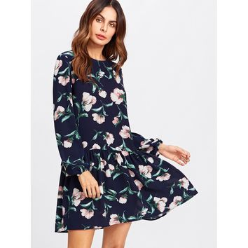 Allover Flower Print Drop Waist Dress Multicolor