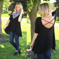 Breeze By Tunic Top in Black