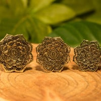 Mandala brass plugs tunnels, flower ear gauges, tribal lotus hippie gypsy jewelry double flare 0g 00g 1/2 9/16 5/8 inch 8mm 10mm 12mm 14mm