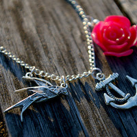 Vintage style sailor tattoo necklace