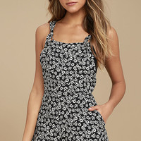 Lucy Love Easy Livin' Black Floral Print Short Overalls
