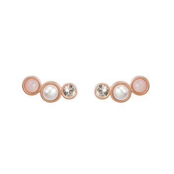 Playing by ear trio - pink opal, pearl, crystal stud earring - Dogeared