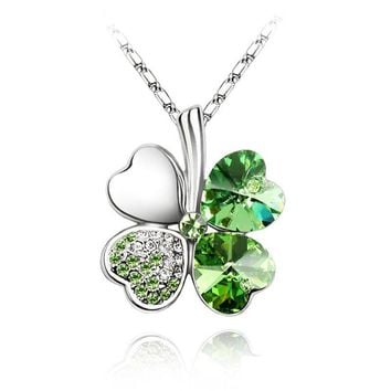 free shipping charms women accessories quality Austrian Crystal lover 4 four Leaf Leaves Clover necklace pendant fashion jewelry