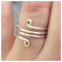 Sterling Silver Wrap Around Ring, Tear Drops