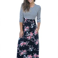 Chicloth Striped Navy Blue Floral Skirt Maxi Dress with Tie Waist