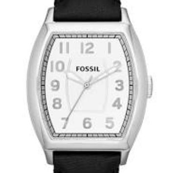Fossil Narrator White Dial Black Leather Mens Watch FS4879