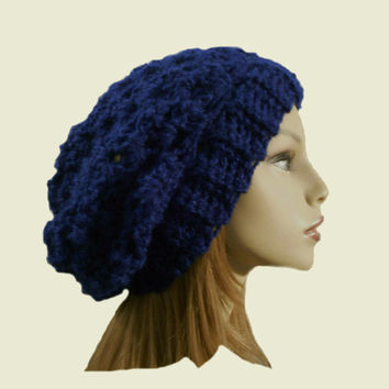 BLUE SLOUCHY Beanie Hat Crochet Knit Slouchie Dark Royal Blue Beanie Slouch Women Teen Dark Blue