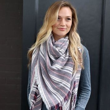 Pink/Burgundy Striped Blanket Scarf