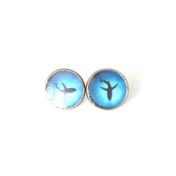 Shark Earrings Stud Shark Shadow Ocean Grunge Beach Great White Shark Above Ocean Jewelry Blue
