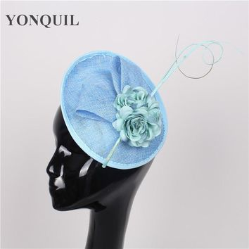 NEW ARRIVAL 15color light blue sinamay fascinators hats cocktail hats wedding headwear church headpieces Derby hair accessories