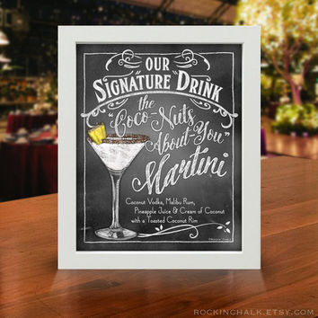 Chalkboard Style Signature Drinks Signs for Summertime | Cool Personalized Decorations for Weddings, Graduations, Birthdays, Special Events
