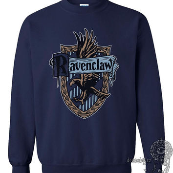 Ravenclaw Crest #2 Fullcolor printed on Navy Crew neck Sweatshirt