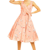 Sarah-P peachy pink swallow bird print vintage 50's retro rockabilly swing dress