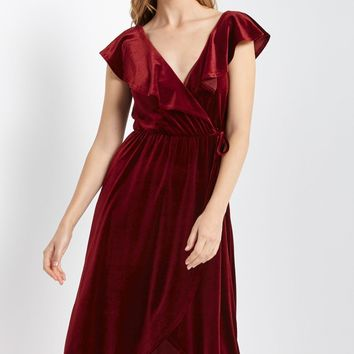Prim Velvet Ruffle Wrap Dress
