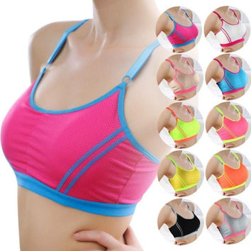 Women Lady Sports Yoga Athletic Solid Wrap Chest Strap Vest Tops Bra = 1932425476
