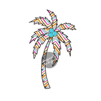 Chevron Palm Tree Decal - Colorful Zig Zag Beach Bumper Sticker Vinyl Car Decal Cute Laptop Decal Teal Pink Blue Orange