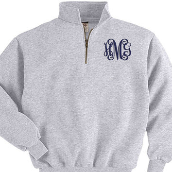 Personalized Embroidered Monogram Quarter Zip Sweatshirt Pullover Jacket Custom Initials - Great for Fall Winter Gray Navy Black