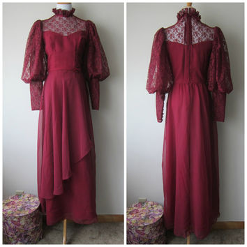 70s Victorian Edwardian Vampire Bride Dress // Burgundy Oxblood Chiffon w/ Huge Lace Mutton Sleeves & Ruffle Collar // Dark Shadows Dracula