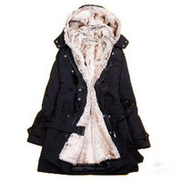 Women's Fur Winter With Faux Fur Ling Long Coat Outerwear**FREE SHIPPING** by Three Letter Word