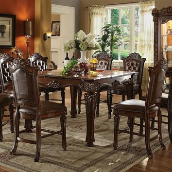 7 pc Vendome II collection cherry finish wood detailed carving counter height dining table set with tufted back chairs