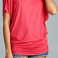 Short-Sleeve Dolman Style Top--Lilac