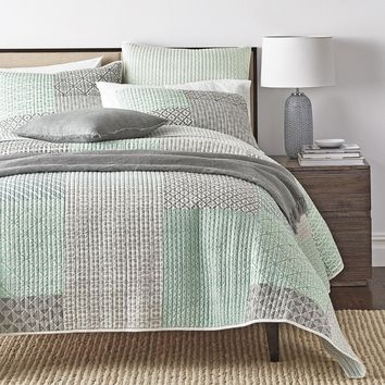 Bedding Set - Mint Green Grey Geometric Patchwork - Quilted Coverlet