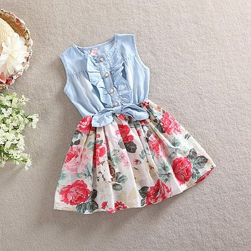 BibiCola Girls Dresses for Party and Wedding 2017 Brand Summer Dress Princess Costume Denim Floral Dresses for Girls