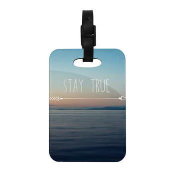 "Ann Barnes ""Stay True"" Coastal Typography Decorative Luggage Tag"