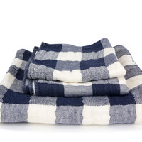 Vintage Check Towel - Navy