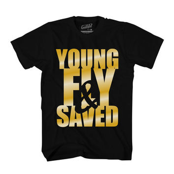 Young Fly & Saved Tee - Blk/Gold