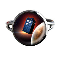 Dr Who Inspired Tardis Ring - Red Planet - Public Police Box Jewelry - Geeky Whovian