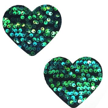 Heart Pasties in Siren Sequin