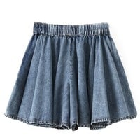 Elastic Waist Loose Fit Denim Skirt