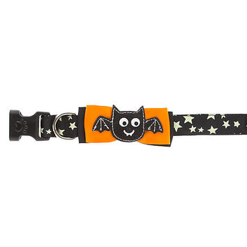 Thrills & Chills™ Halloween Bat Bow Tie Glow-in-the-Dark Dog Collar