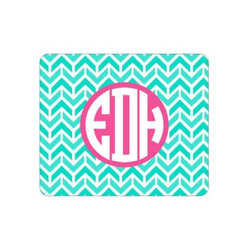 Mint Aztec Chevron Mouse Pad