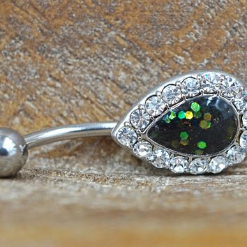 Green Opal Belly Button Ring Glitter Teardrop
