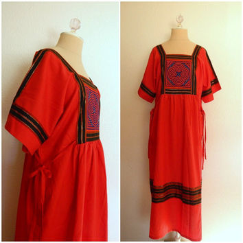 1970's Vintage Hippie Maxi Dress - Red Ethnic Quilted Chest with Metallic Ribbon and Tie Sides Large