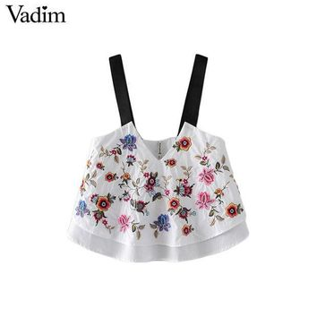 Vadim Women Sexy V Neck Floral Embroidery Crop Top Camis Sleeveless Backless Shirts Ladies Summer Casual Cute Tops Blouses Wt458