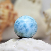 Large 14mm Larimar Round Bead Polished ball Turquoise Blue Coral Red Pectolite Boho Rough big ball drilled Dominican beach stone turtleback
