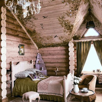 Siberian House Wood Bedroom Interior